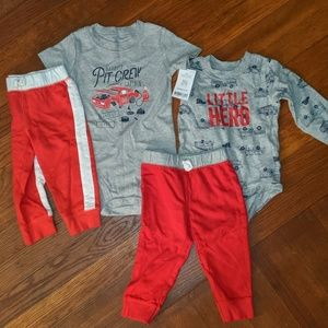 2 grey / red Carter's bodysuits and pants outfits